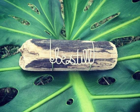 Be Still Tropical Hawaiian Beach Driftwood Wire Art Piece, Be Still and Know, Wire Art, Driftwood, Made in Hawaii, Beach Gifts, Office Decor