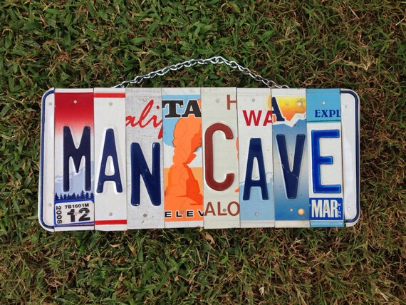 Man Cave License Plate Sign, Fathers Day Gift Idea, Decor for Men, Recycled License Plate, Gift for a Guy, Metal Sign