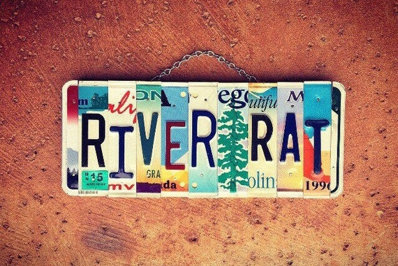 River Rat Custom License Plate Sign Wall Hanging, River Sign, License Plate Art, River House Decor, Gift For Him, River Home Decor, PNW Gift