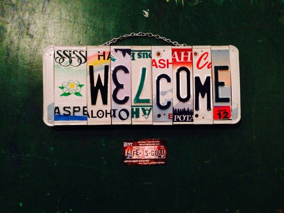 License plate art. Home decor. Welcome. Sign. Flower. Home . License plate. Girl. Home. Wall hanging . Custom . Gift idea.