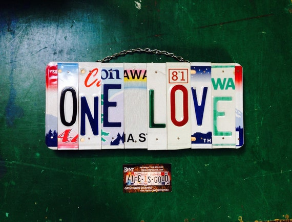 One Love License Plate Wall Hanging, Hippie Decor, Gift for Teen, Birthday Gift Idea, Dorm Room Sign, Recycled License Plates, Handmade Sign