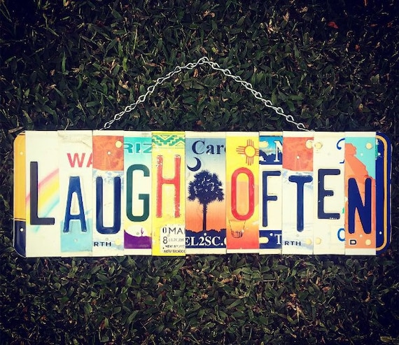 Laugh Often License Plate Sign, Positive Signs, License Plate Art, Mothers Day Gift. Beach Decor. South Carolina Palmetto, Laugh Often Sign.