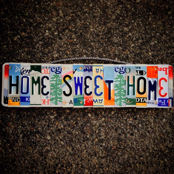 Home sweet home sign. House warming gift. License plate art. Custom sign. Room decor. Home decor. Unique gift. License plate art.