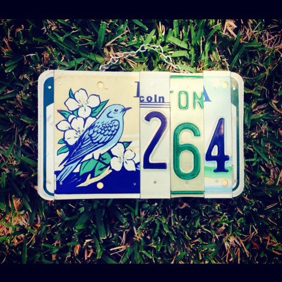 Blue bird. Bird. House number. License plate. Address. Sign. Custom. Number. Flowers. Home decor
