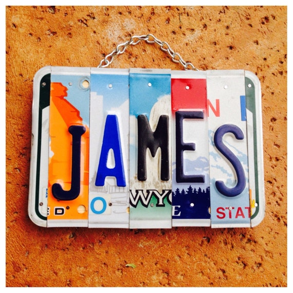 Car Theme Decor, James, Name Plate, License Plate Art, Personalized Decor, Family Name, Wood Sign, Gift for Dad.