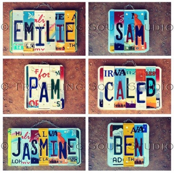 License Plate Art, Dorm Room Decor, Personalized Gifts, Name Signs, Car Themed Gift, Recycled License Plates, Kids Name Wall Hanging.