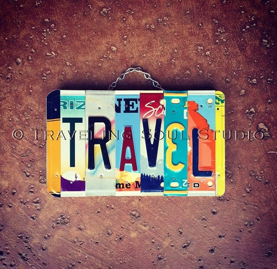 License Plate Travel Sign, Dorm Decor, Travel Gifts, Exchange Student Gift Idea, Made in USA, United States Memorabilia, Birthday Gift for T