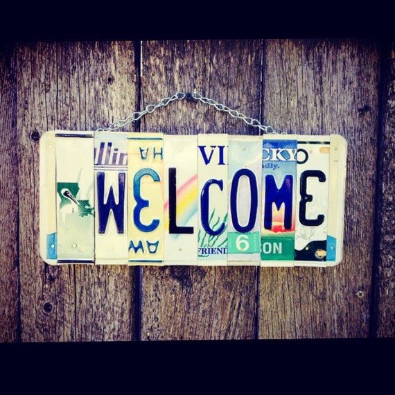 Welcome License Plate Sign - Welcome Sign - Mothers Day Gift - Housewarming Gift - Beach Decor - Home Decor - Nautical Decor