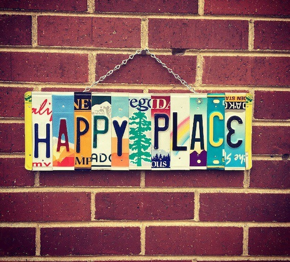Happy Place Sign, Happy Place Gifts, Housewarming Gift, License Plate Art, For Her, Happy Place Wall Decor, Cabin Art.