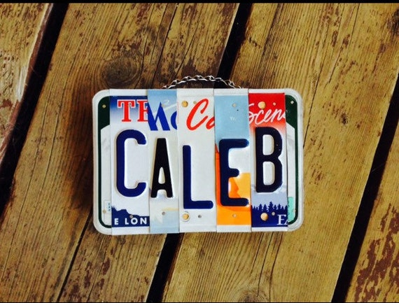 Caleb. Boys. License plate. Sign. Recycled. Room decor. Name. Stocking. Room. Personalized
