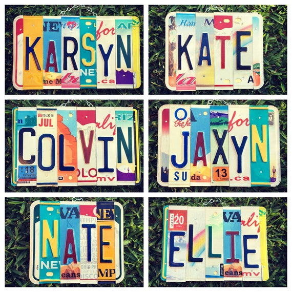 License Plate Name Sign, Gifts for Kids, Childrens Gifts, Dorm Room Decor, Personalized Gifts, Custom Names, License Plate Art, Unique Gift