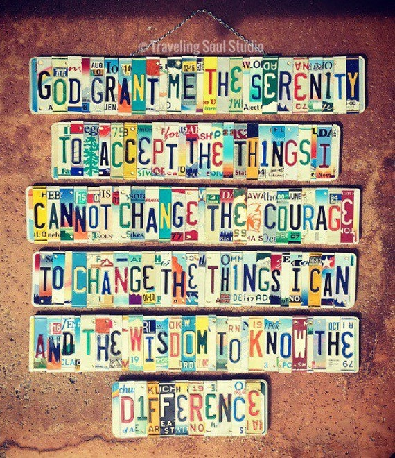 The Serenity Prayer License Plate Sign, Home Decor, Religious, Prayer Sign, Inspirational Gift