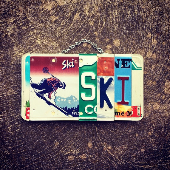 Gift for Skier, Ski Gifts, Ski Decor, Ski Sign, Ski Art, Ski Cabin Decor, License Plate Art, Home Decor, Gift Ideas.