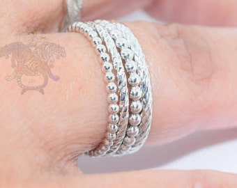 Textured Stacking Rings ~ Sterling Silver
