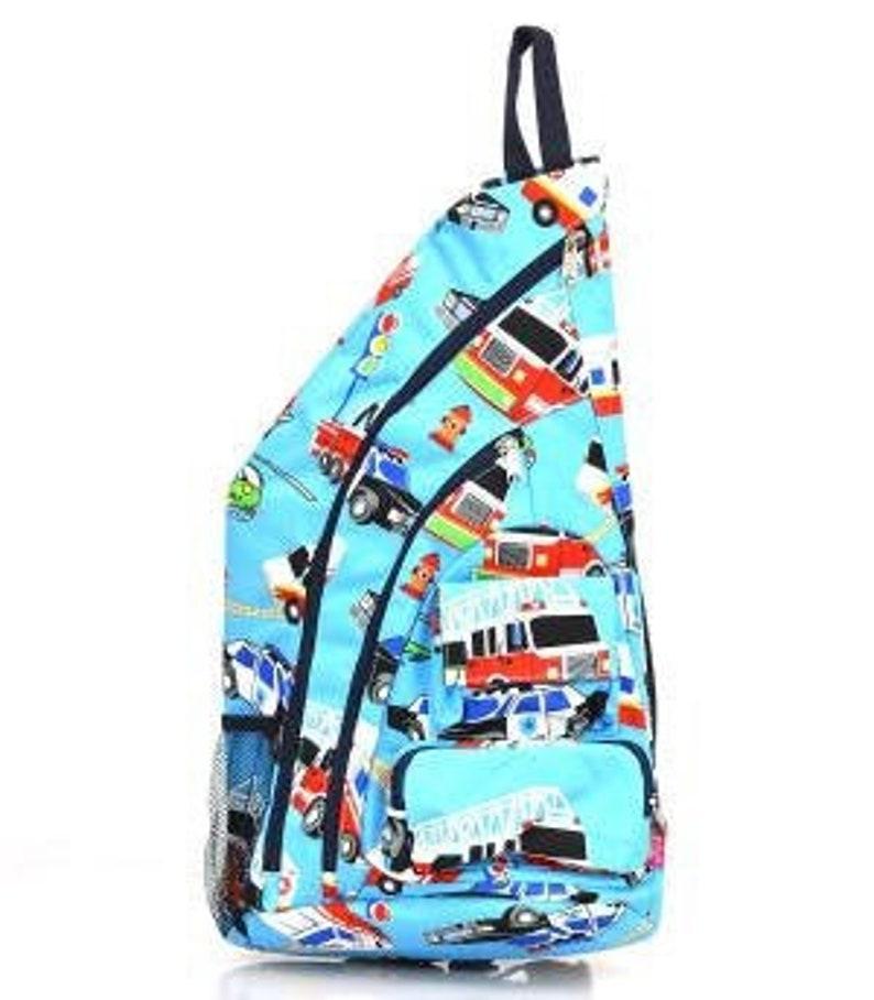 Half Backpack Police carFire truck Half  Backpack Single Strap Backpac Monogrammed Backpack Personalized Backpack School Backpack