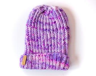 Purple Ribbed Hat OOAK