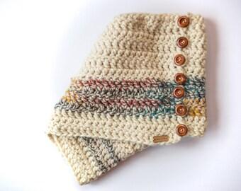 Chunky Knit Scarf//Tassle Scarf//Two Tone Scarf//Long Wrap Scarf//Adult Scarf//Multi-Colored Scarf//Winter Scarf