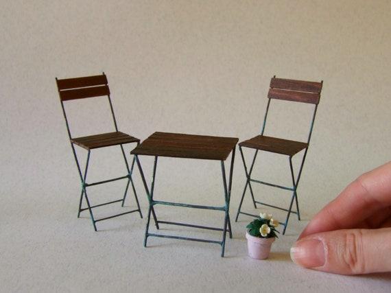Set de Table et chaises de jardin Miniature Mobilier de | Etsy