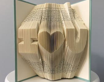 Wedding Anniversary Gift for Her for Wife for Girlfriend - Folded Book Art (Capitalized I (heart) U Format) - I Love You Home Decoration