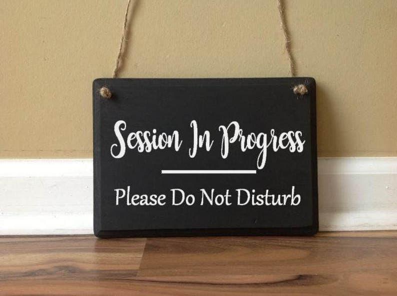 Hanging Door Sign Plaque Salon Spa TREATMENT IN PROGRESS Please Do Not Disturb
