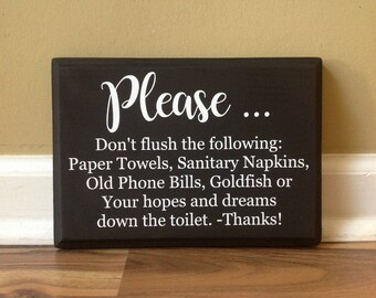 Please Do Not Flush the Following Goldfish Hopes and Dreams Bathroom Decor Funny Bathroom Sign Do Not Dispose Guest bathroom Black white