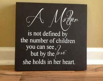 A mothers love is not defined by the number of children you see sign wall decor hanging sign wall sign sympathy loss of child miscarriage