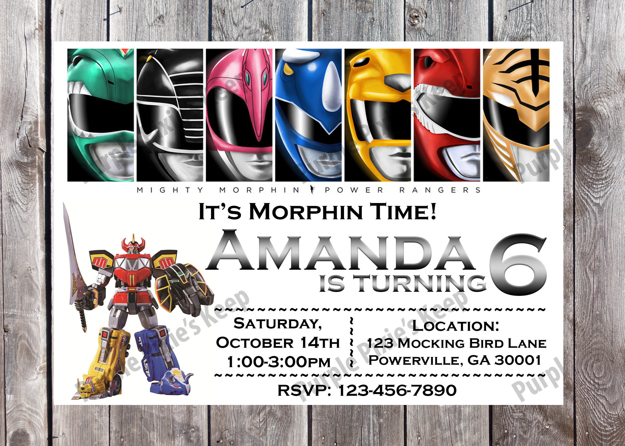 Power Rangers Birthday Party Invitation | Etsy