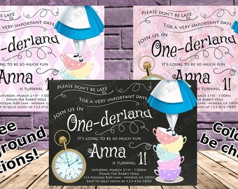 Alice in One-derland Birthday Party Invitation - 3 Backgrounds! - Any Color!