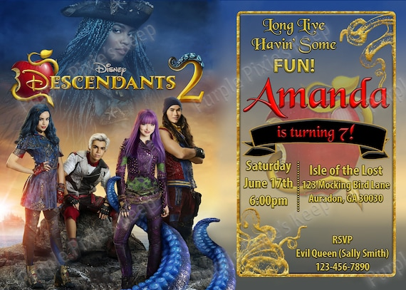 Disney Descendants 2 Birthday Party Invitation