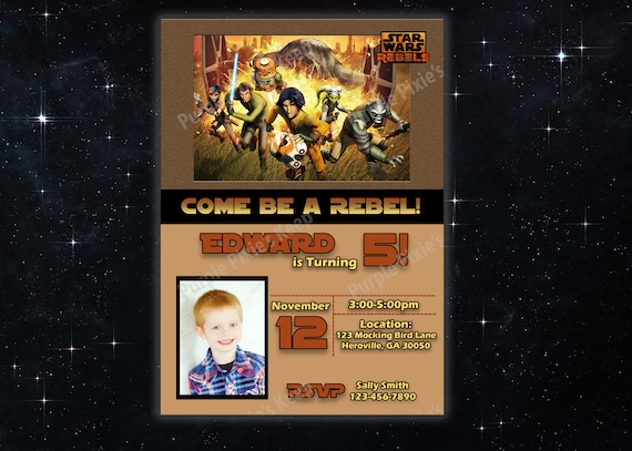 Star Wars Rebels Birthday Party Invitation With Photo