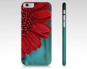 Red and Teal Floral Plastic iPhone Case, Red & Teal Cell Phone Cover, iPhone Cover, Cell phone case, Samsung device case, Samsung Phone Case