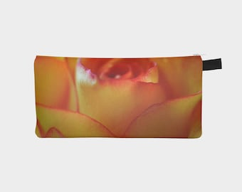 Rose Flower Pencil Case, Orange Pouch, Pencil Pouch, Make Up Bag, Nature Pouch, Small Zipper Pouch, pencil bag, Cosmetic Bag, Small Pouch