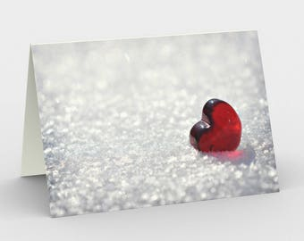 Red Heart Cards, Blank Note cards, Nature Note Cards, Greeting Cards, Three Note Cards, 5x7 Love Cards, Winter Art Card, All Occasion Cards