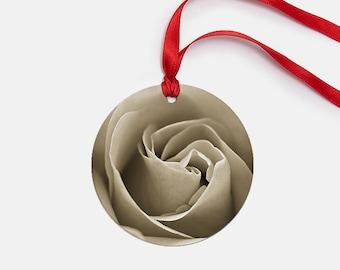 Holiday Ornament, Rose Christmas Decor, Flower Ornament, Christmas Tree Decor, Sepia Ornament, Hostess Gift, Holiday Decor, Metal Ornament
