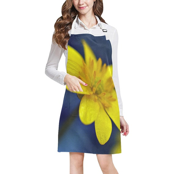 Dandelion Flower Two Pocket or Floral Button Accent Bib Apron Perfect for Cooking Grilling Baking Gardening Hostess Gift for Chef or Cooks