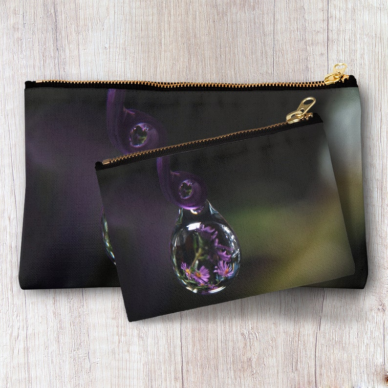 34c2b9e1a29d Purple Rain Drop Zipper Pouch Travel Toiletry Bag Cosmetic Accessories  Makeup Organizer Clutch Personalized Bridesmaid Best Friend gift