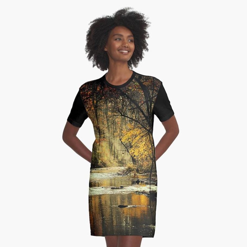 b2d321960390 Autumn Landscape stampato vestito Mini t-shirt Graphic