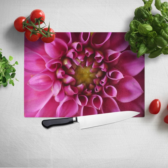 Gift for Chef Kitchen Cutting Board Pink Rose Flower Glass Cutting Board Nature Cutting Board Hostess Gift Floral Trivet Hot Pad