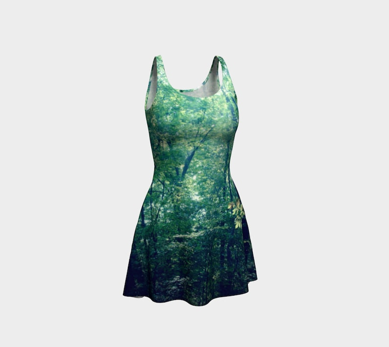 Gothic Green Fit and Flare Flare Skater Dress Forest Photo Reversible Spandex Mini Dress