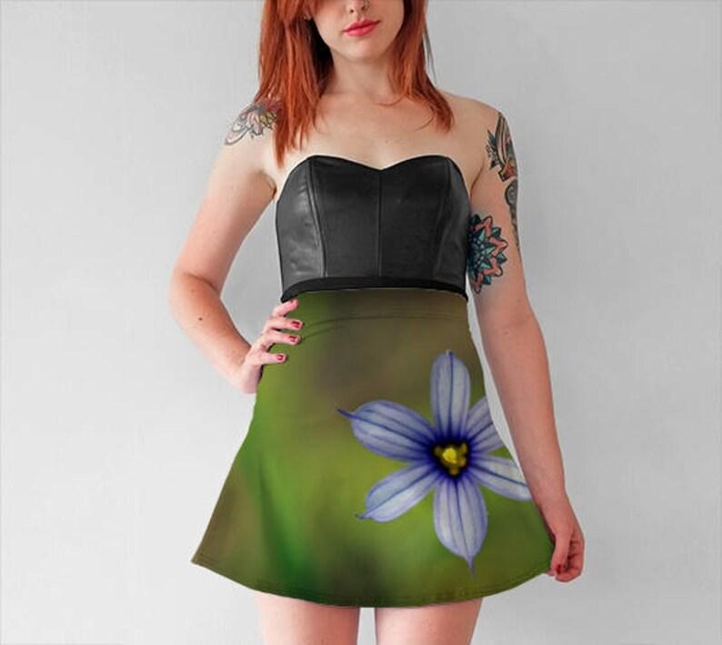 4a017e8774 Blue Flower Flare Skirt Photo Skater Skirt Blue and Green | Etsy