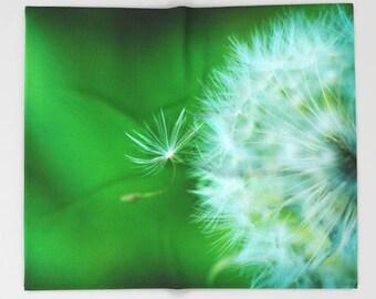 Green Fleece Throw Blanket, Dandelion Blanket, Soft Fleece Bedroom Decor, Nature Sofa Throw, Fluffy Baby Blanket, Green Fleece Bedding