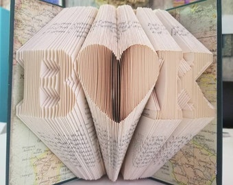 Folded Book Art Personalized Gift Folded Book Art Initials Gift For Her/Him Special Occasions  Book Folding Custom Anniversary Gift