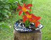 Glass Vase, Ikebana Vase, Three sided fused art glass Ikebana vase with blue and white accents, Flower Arranging, Fused Glass, V201