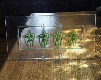 """Fiddlehead Fern Plate, 8""""x 16"""" Fiddlehead Leaf Dish, Kiln Fired Glass Plate, Fused Glass Dish, Decorative Plate, Fused Glass, PL204"""