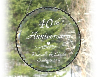 "40th  Anniversary, Wedding or Birthday Round Bevel Suncatcher, 6"" Custom engraved clear glass window hanging, Engraved glass, C105"