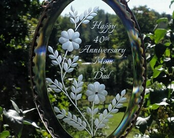 40th Wedding Anniversary, Mom and Dad, Clear Oval Glass Bevel Suncatcher, Glass suncatcher, 40th Anniversary window hanging, C110B