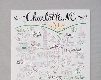 Charlotte map   Etsy