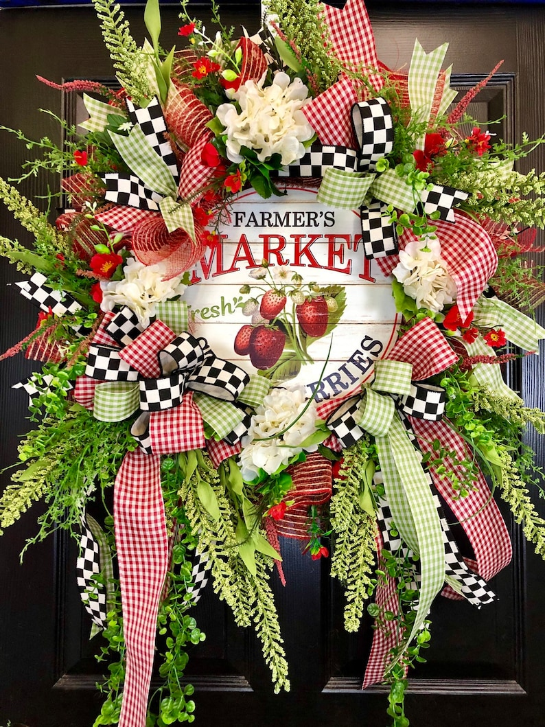 Red and Green Strawberry Country Farmhouse Everday Summer Mesh Door Wreath