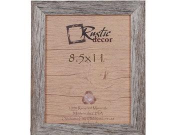 "8.5x11 -1.5"" wide Rustic Barn Wood Standard Wall Frame"