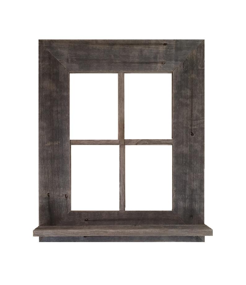 Fenêtre Rustique Du Bois De Grange Cadre Avec Tablette Et Etsy